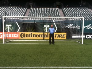 Coach Gene in the goal at the home of the Portland Timbers.