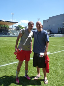 Christine Sinclair with Ron Benjamin