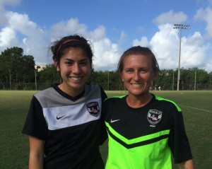 Emily Talmi with former USWNT standout,  Tiffeny Millbrett
