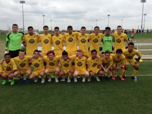 A somewhat serious and focus U18 Boys 97 Gold team before their first match at Dallas Cup on Monday.