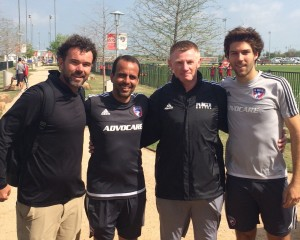 Coach Jason Gantt, FC Dallas Coach Oscar Pareja, Coach Paul O'Brien, FC Dallas Midfielder Ryan Hollingshead