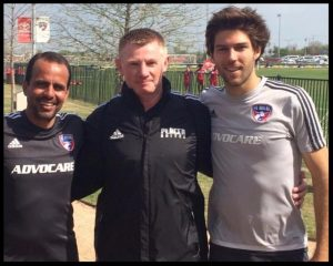 O'Brien is pictured here in the middle with FC Dallas head coach and former Placer United and current MLS star Ryan Hollingshead